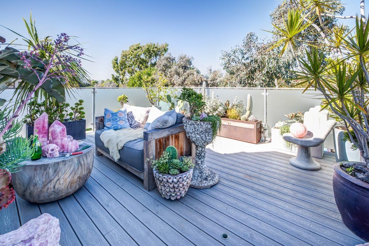 La espectacular terraza de la casa en Los Ángeles