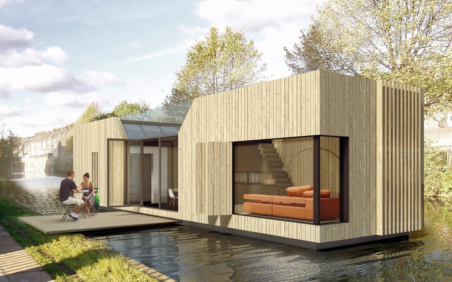 Casas prefabricadas en los canales de Londres