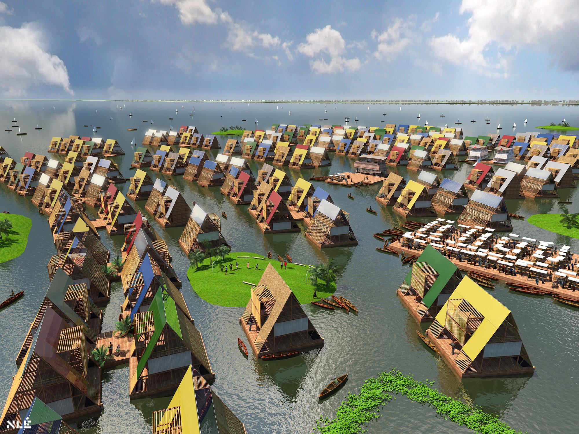 escuela que flota sobre la superficie del agua en Nigeria