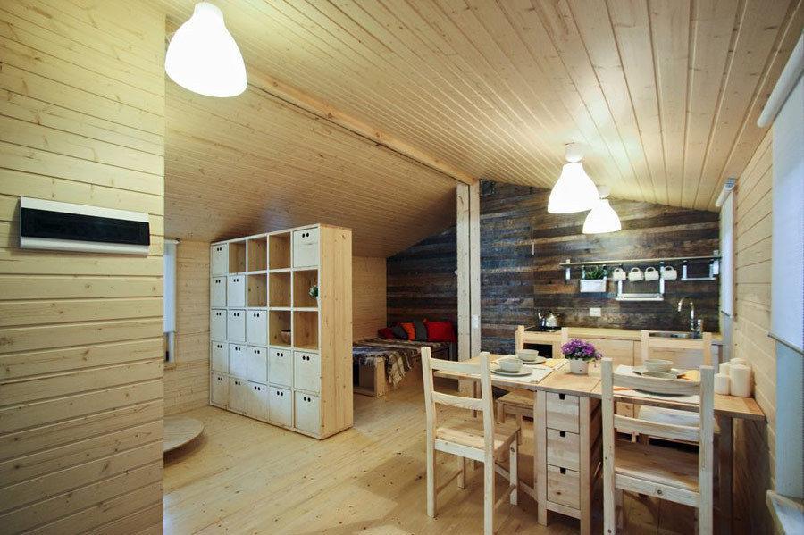 Interior de una casa prefabricada de diseño