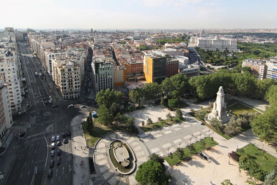 La Plaza de España de Madrid desde el alto