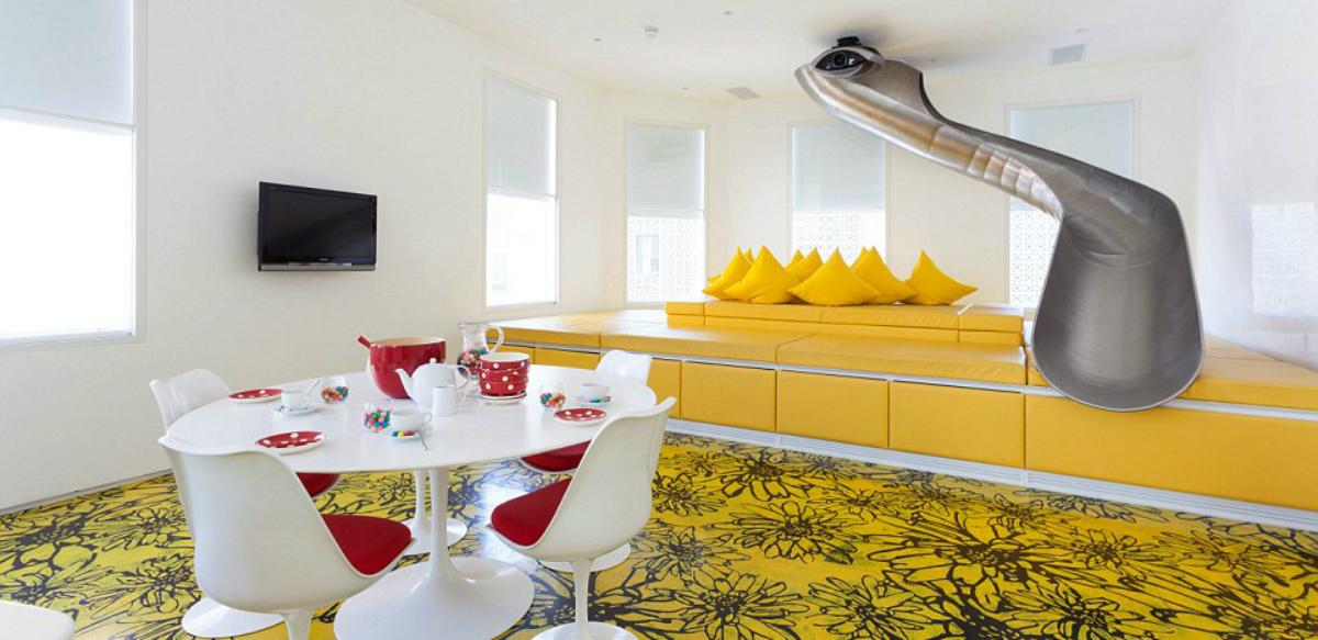 ideas de decoracin convierte tu casa en un parque de juegos con un tobogn interior