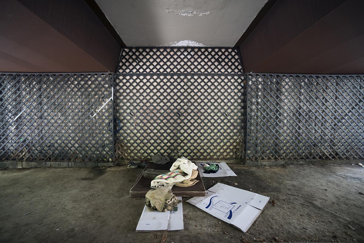 Uno de los lugares donde viven personas sin hogar en Madrid