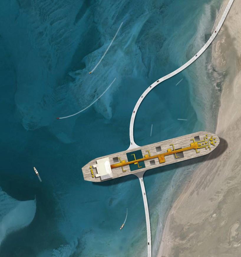 El enorme barco petrolero desde el alto
