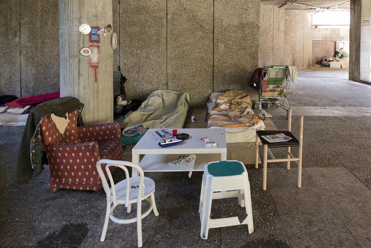Dormitorio de las personas sin techo en Madrid