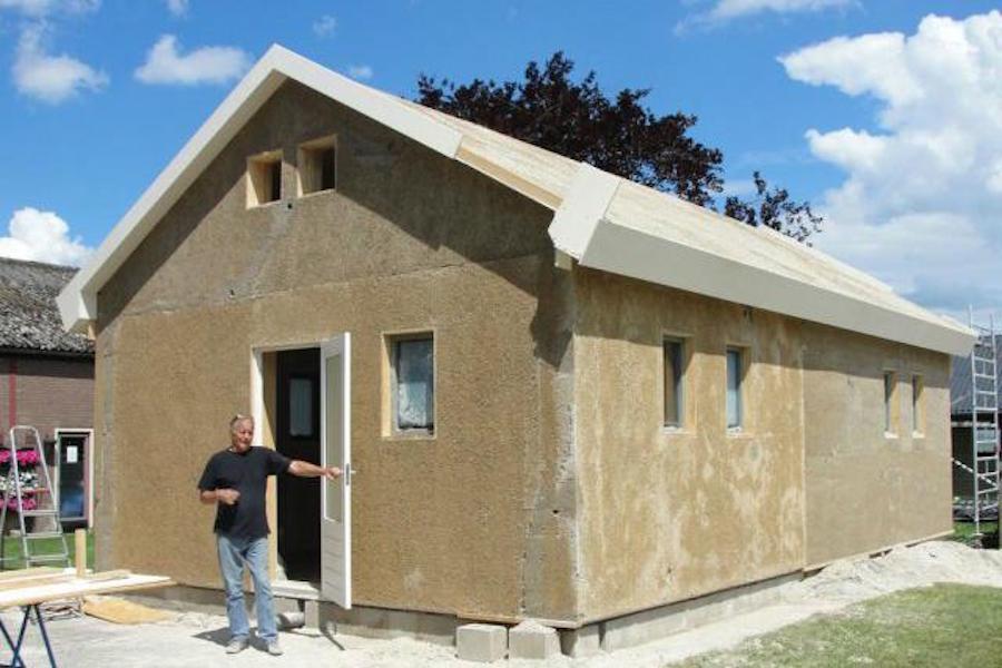 Casa construida con cemento de cannabis