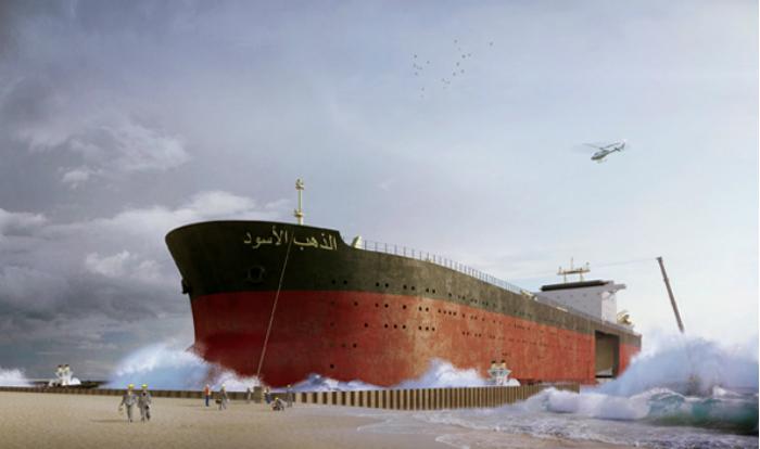 El gigantesco barco petrolero