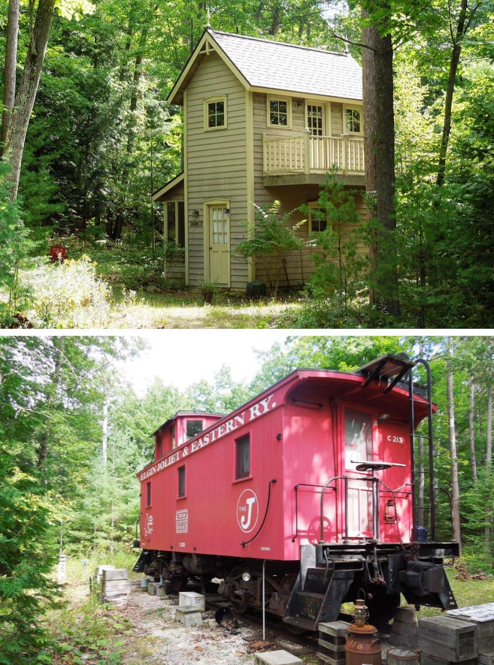 Cabaña con vagón de tren en EEUU
