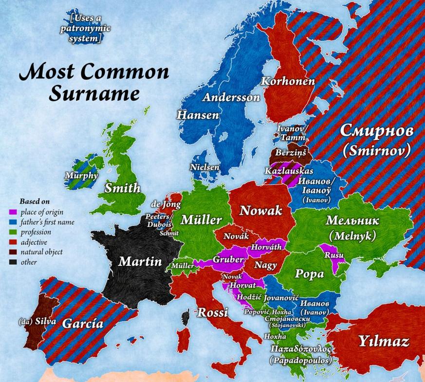 Mapa de los apellidos europeos más comunes
