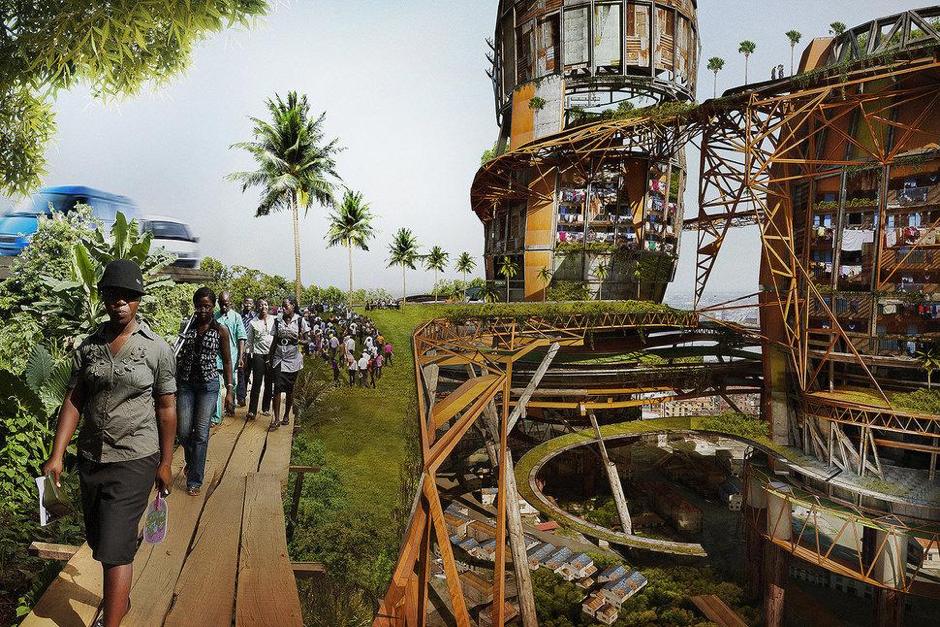 el artista persigue ponernos en el lugar de los más desfavorecidos, los habitantes de uno de los barrio más pobres de Lagos.