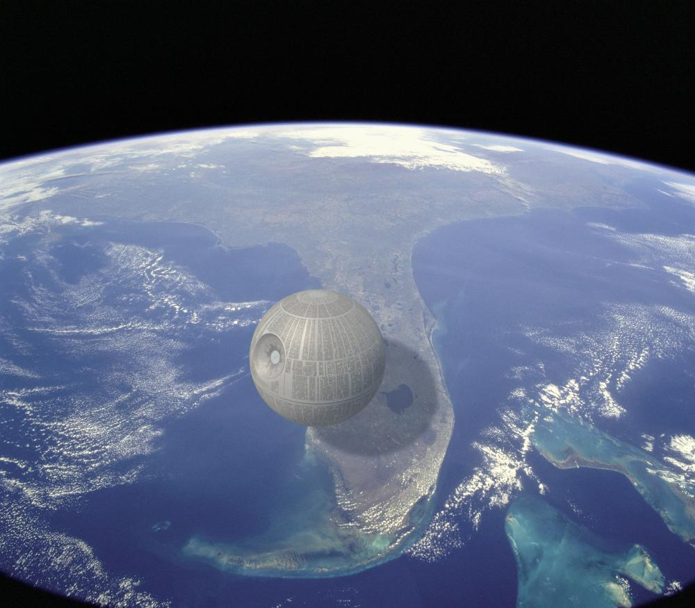 La 'Estrella de la Muerte' (aprox. 160 km de diámetro) sobre el estado de Florida