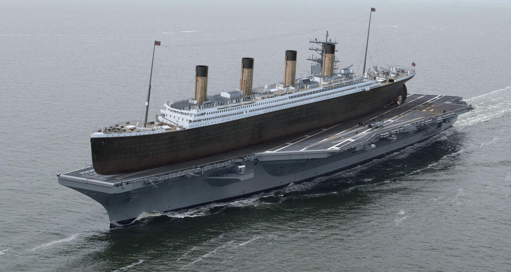 El Titanic (269 m de eslora) sobre el portaaviones USS Ronald Reagan (333 m de eslora)