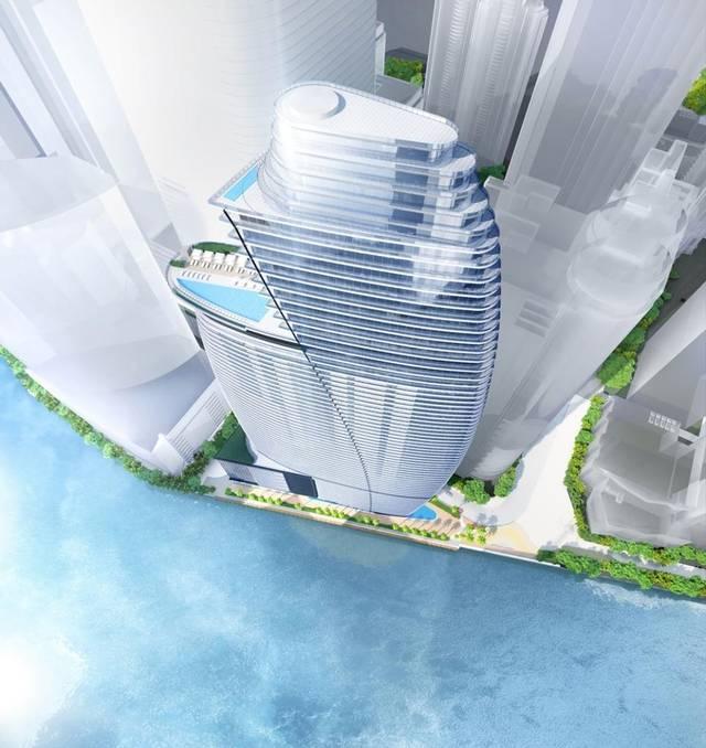 Vista cenital del proyecto donde se ven sus infinitas piscinas. Fuente: marketwacth