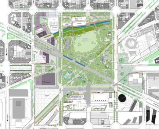 plano de la propuesta para la plaza las Glòries y su entorno. Fuente: Ayuntamiento de Barcelona