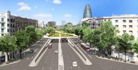 Simulación del proyecto definitivo para las Glòries y su entorno. Fuente: Ayuntamiento de Barcelona