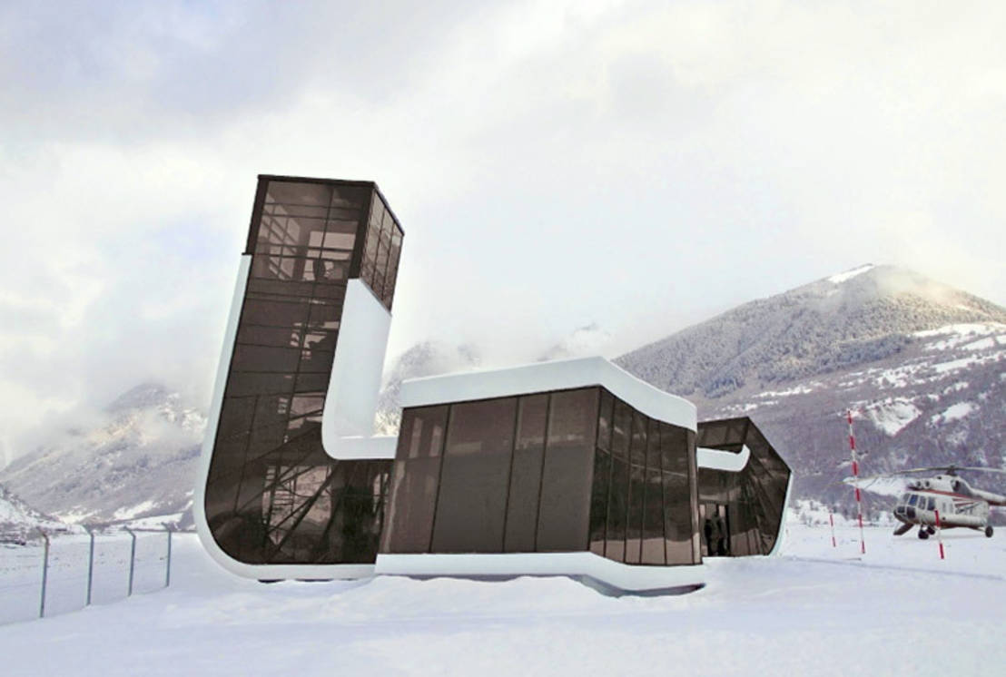 Un futurista aeropuerto inclinado en Georgia