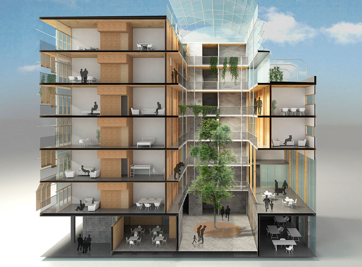 Simulación del futuro edificio eficiente. / La Borda