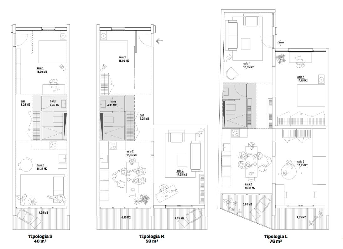plano de los tres tipos de pisos que construirán. / La Borda