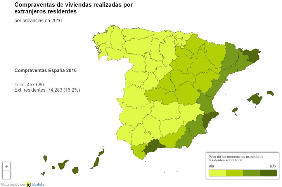 D nde compraron casa los extranjeros residentes en espa a for Oficina de extranjeros madrid