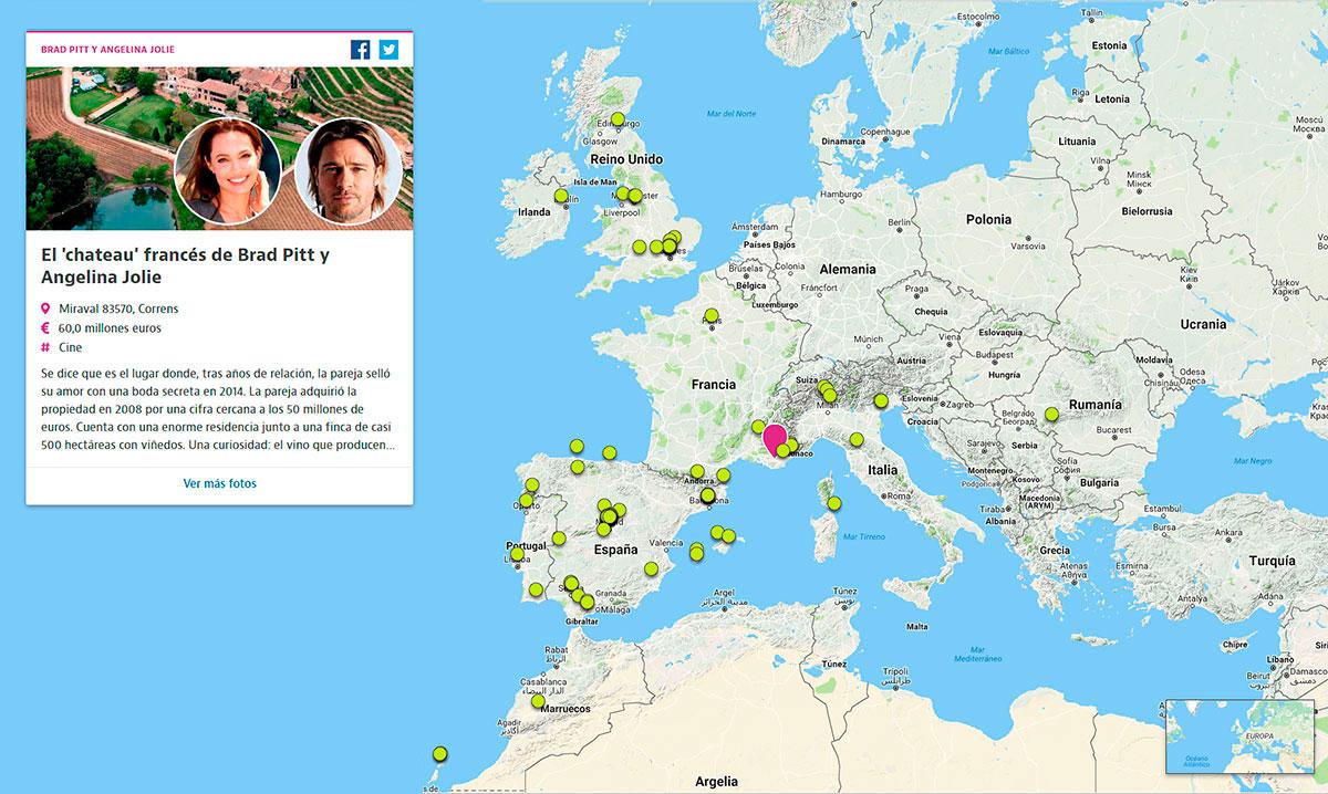 ¿Dónde viven los famosos?Este mapa te enseña cómo son sus casas