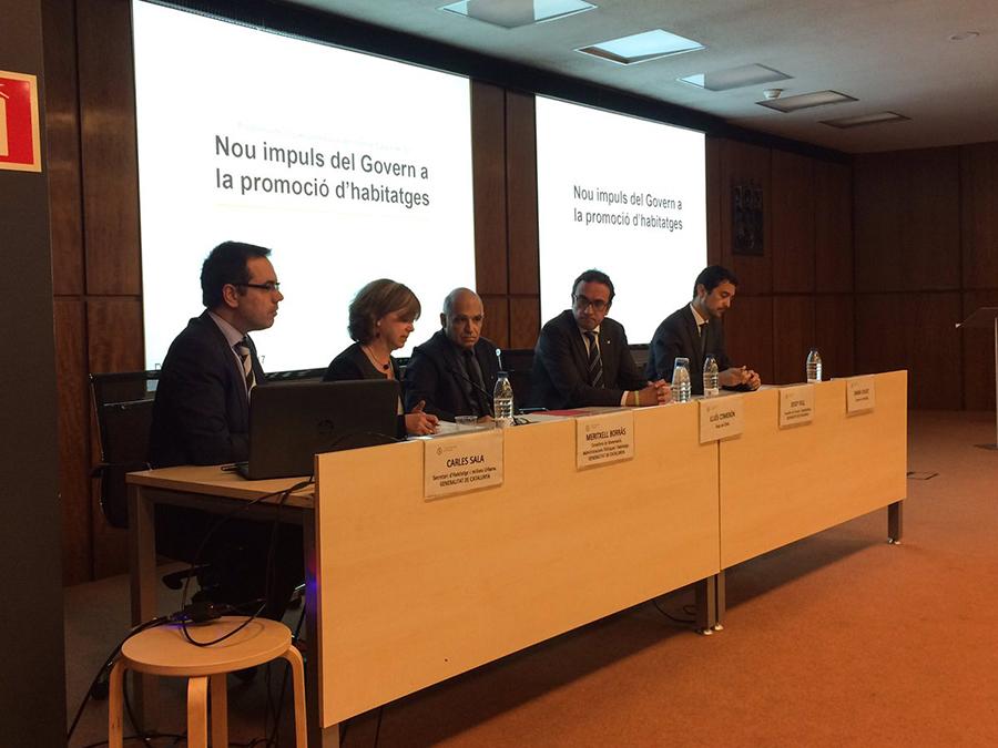 Los consellers Borràs y Rull, durante su intervención en el COAC. / Generalitat de Catalunya