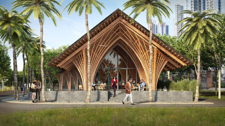 Un restaurante de bambú
