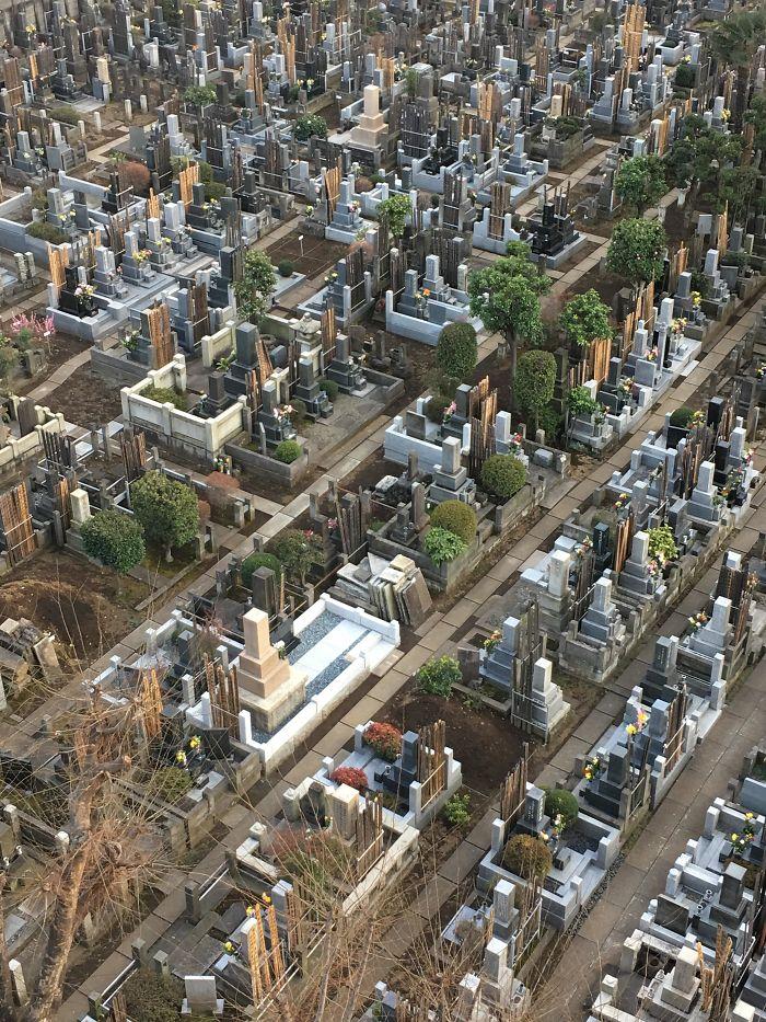 Una ciudad a vista de pájaro... en un cementerio de Tokio