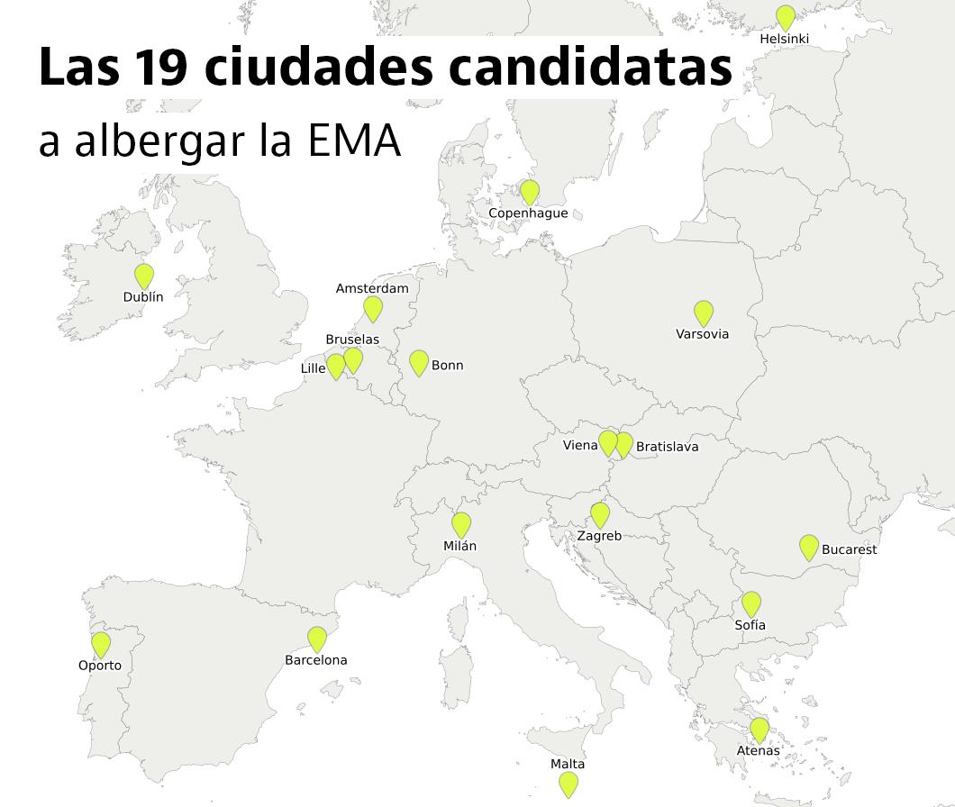 Las ciudades que compiten con Barcelona para hacerse con la sede de la EMA