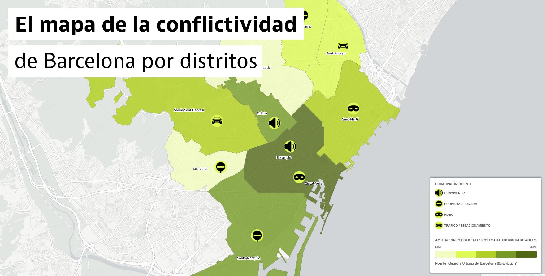 Conoce los distritos más conflictivos y pacíficos de Barcelona