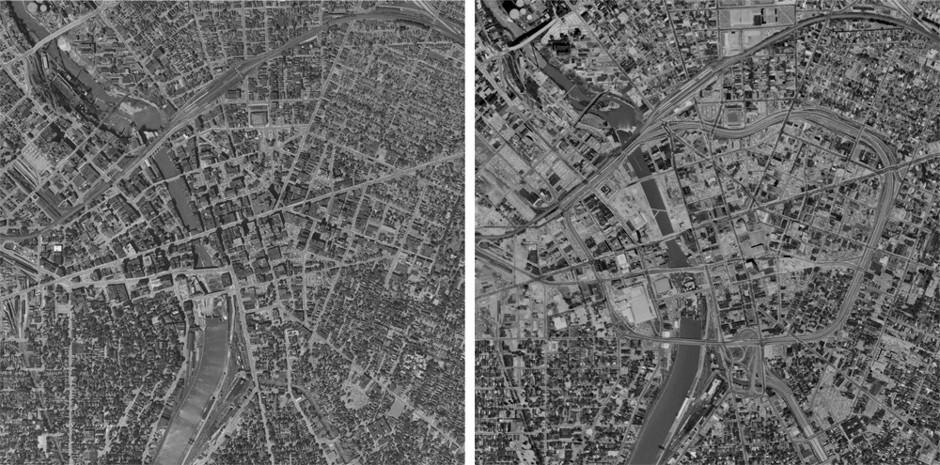 Antes y después del Inner Loop en Rochester / Historical Aerials