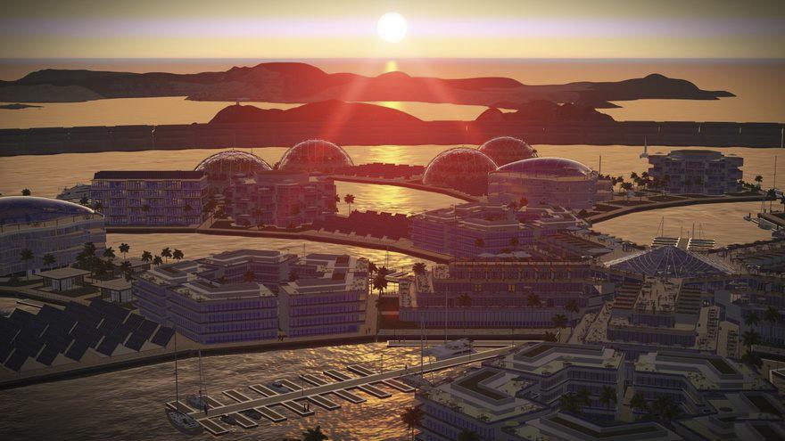 Puesta de sol en la utópica isla-estado