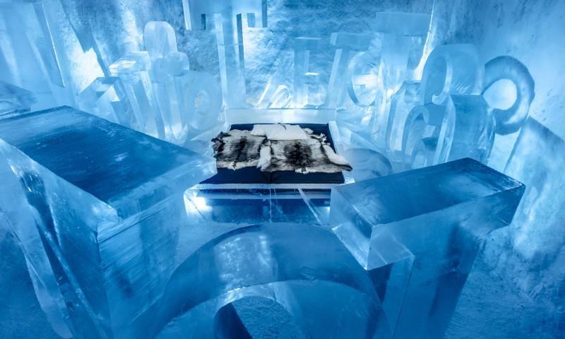 El efímero hotel de hielo de Suecia