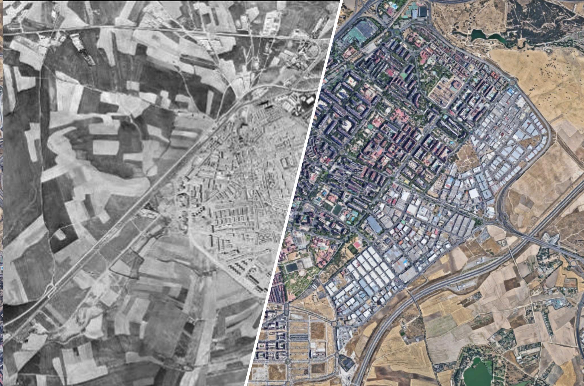 Vista aérea de Alcorcón de 1975 y 2006 / Alcorcón Antiguo