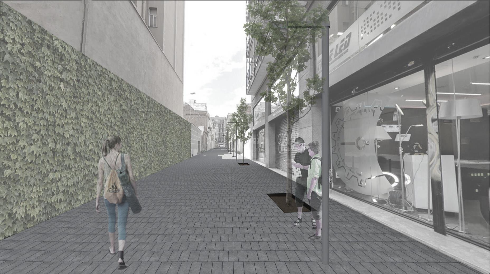 Recreación del pasaje Bofill, a dos manzanas de la Sagrada Familia, tras la intervención urbanística. / Ajuntament de Barcelona