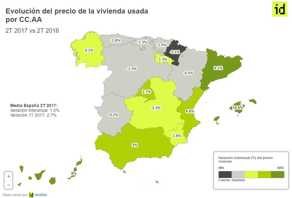 Mapa de las dos Españas inmobiliarias: así ha evolucionado el precio de la vivienda usada