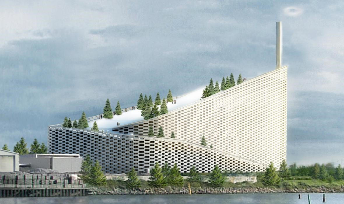 Una central energética con pista de esquí en el techo