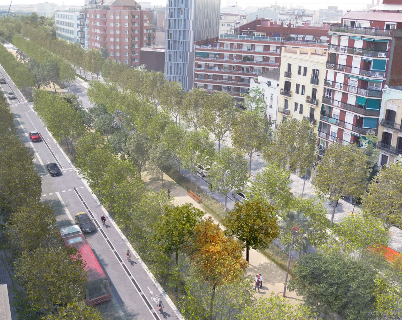 Recreación de la transformación de la Avenida Meridiana, a su altura con calle Mallorca. / Ajuntament de Barcelona
