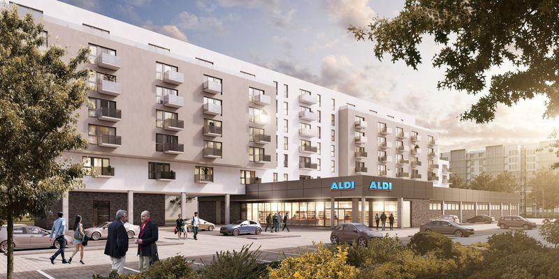 Una representación de los apartamentos que Aldi construirá en el distrito berlinés de Lichtenberg / Aldi