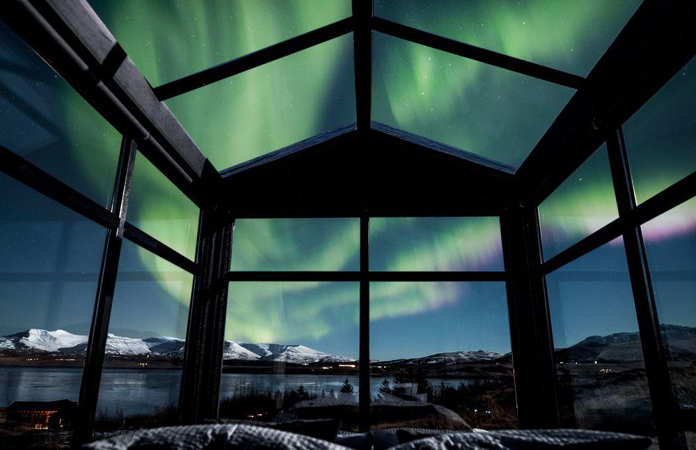 Foto del cielo desde la cama de la cabaña