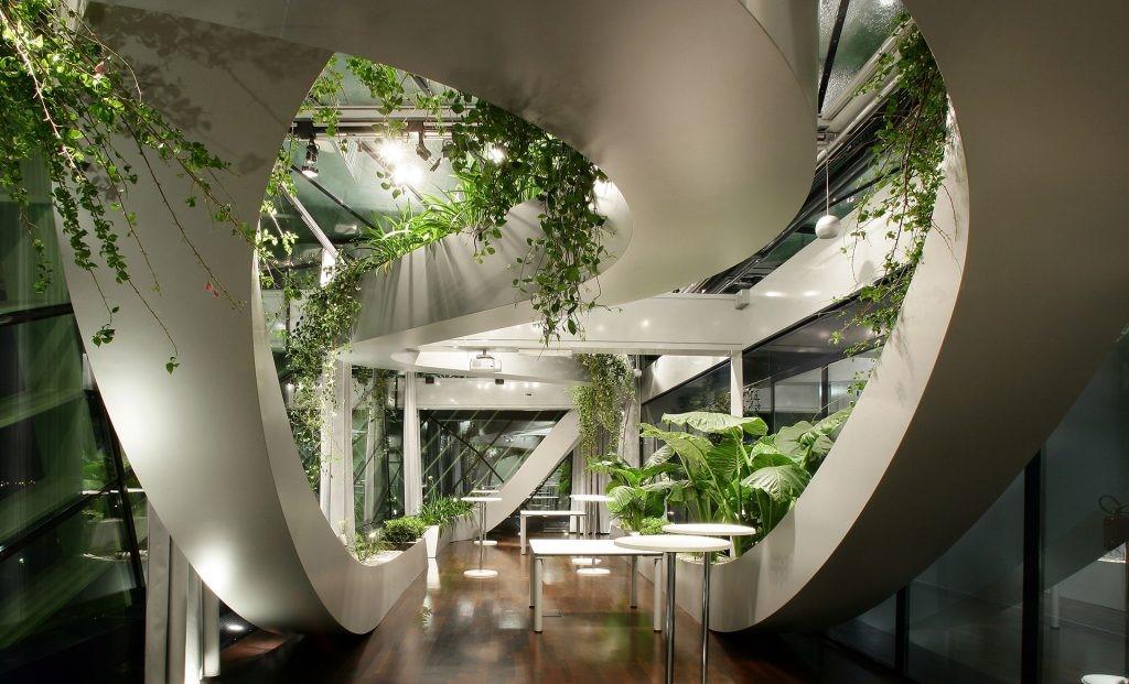 Un jardín panorámico como sala de reuniones