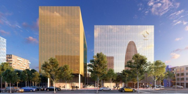 El edificio plateado, el Luxa Silver, será donde se instale Amazon sur de Europa / Grupo Castellví