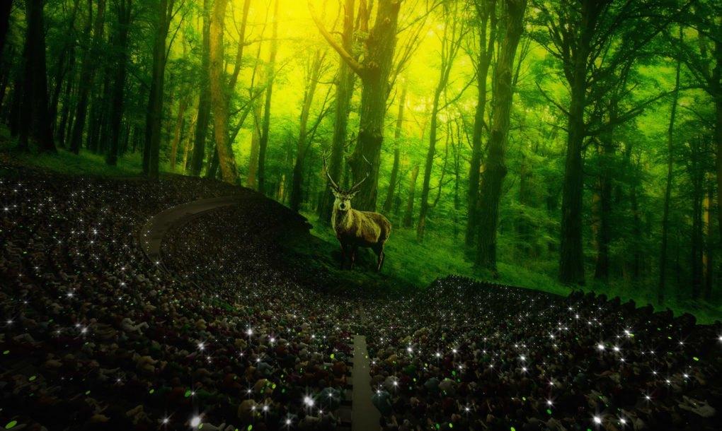 Simulación de un ciervo en el interior