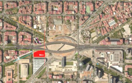 vista aérea de la plaza de Les Glòries y la ubicación de los pisos públicos / Ajuntament de Barcelona