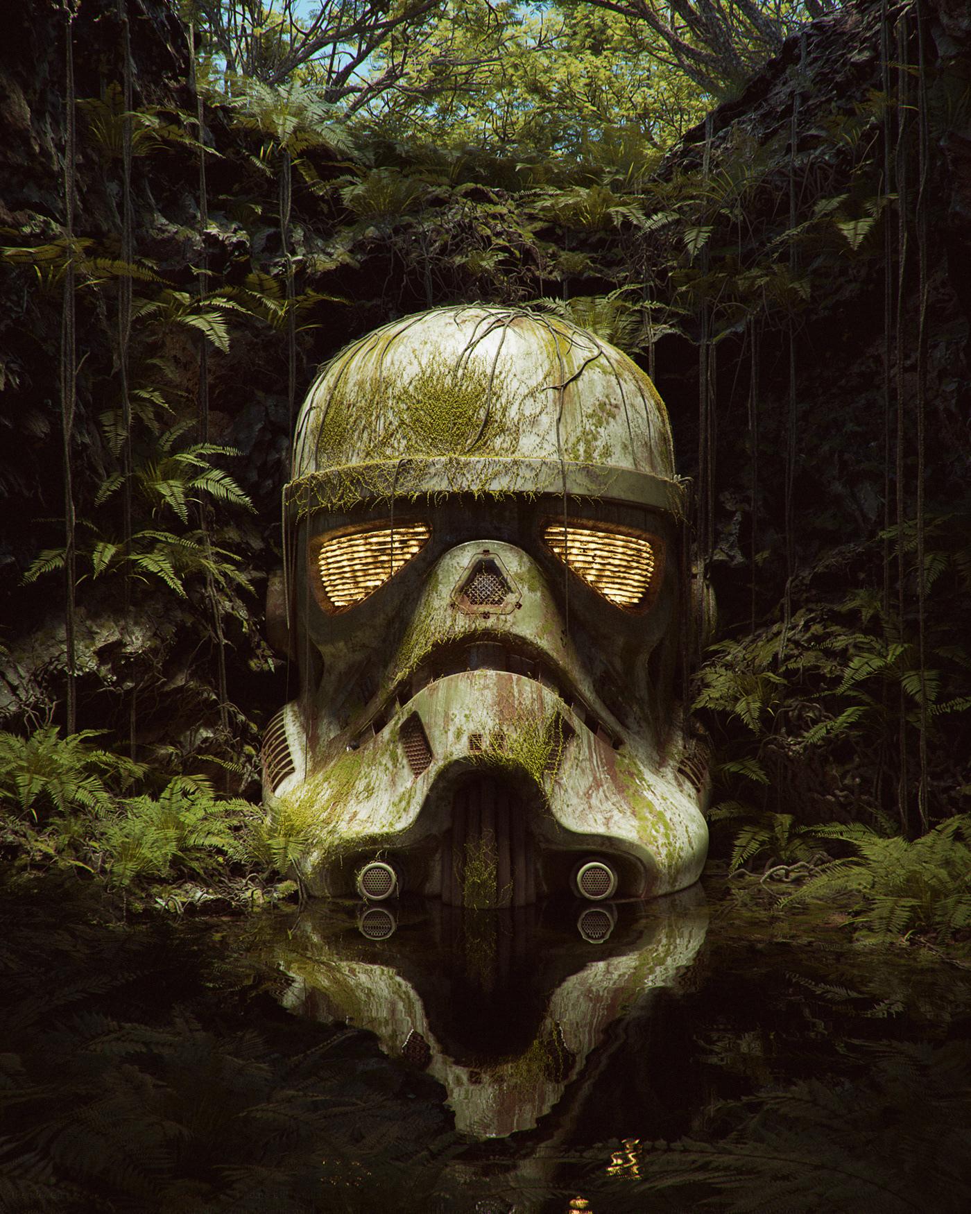 El casco de un soldado imperial de Star Wars