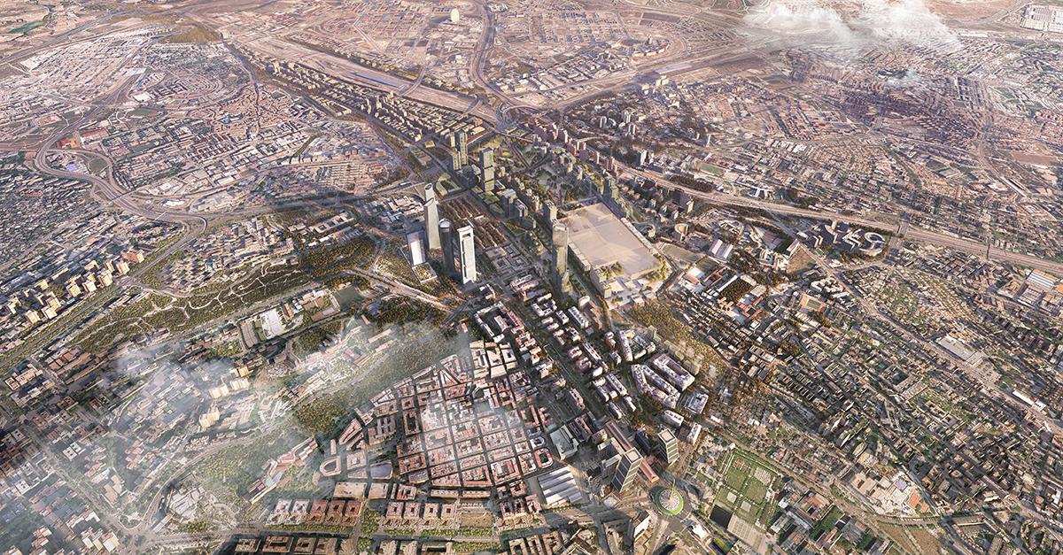Reprodrucción del futuro Madrid Puerta Norte / Distrito Castellana Norte