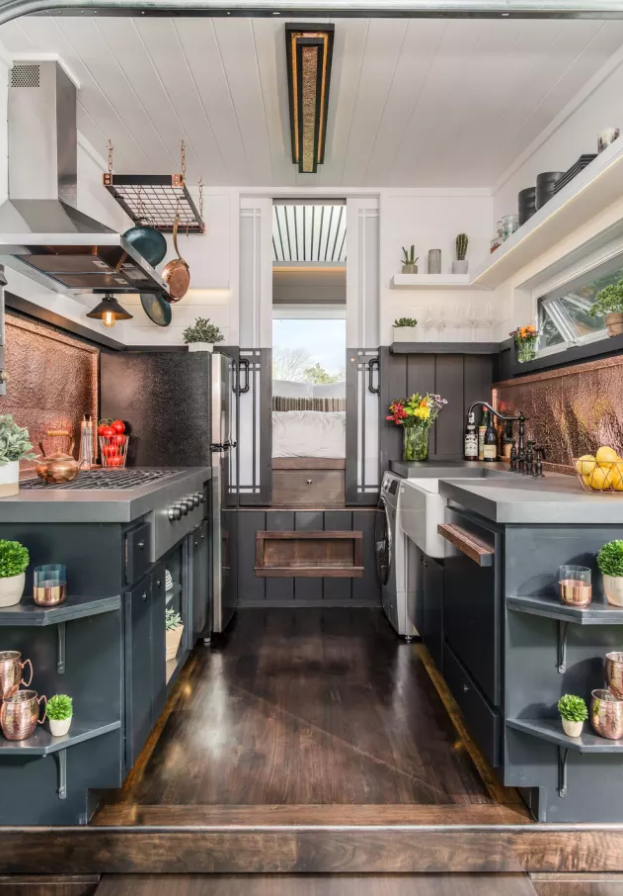 The Escher Tiny House, New Frontier Tiny Homes (interior) / New Frontier Tiny Homes via Apartment Therapy