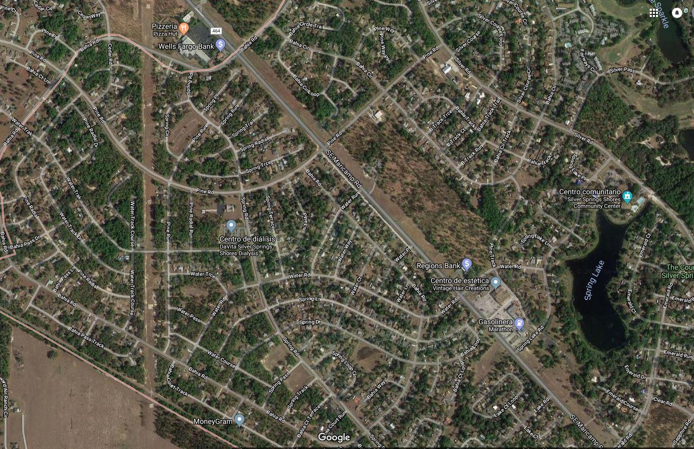 Las calles de Silver Springs Shores / Goope Maps