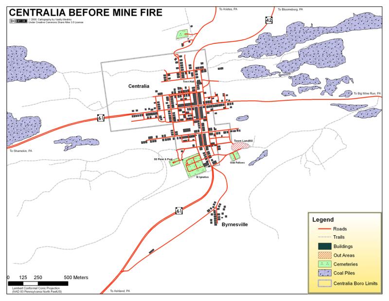 Mapa de Centralia antes del accidente / Medios