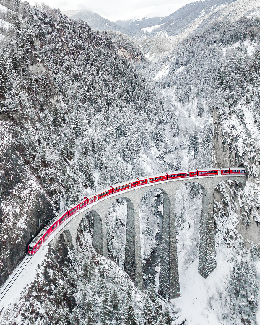 """Red Train"" / SkyPixel"