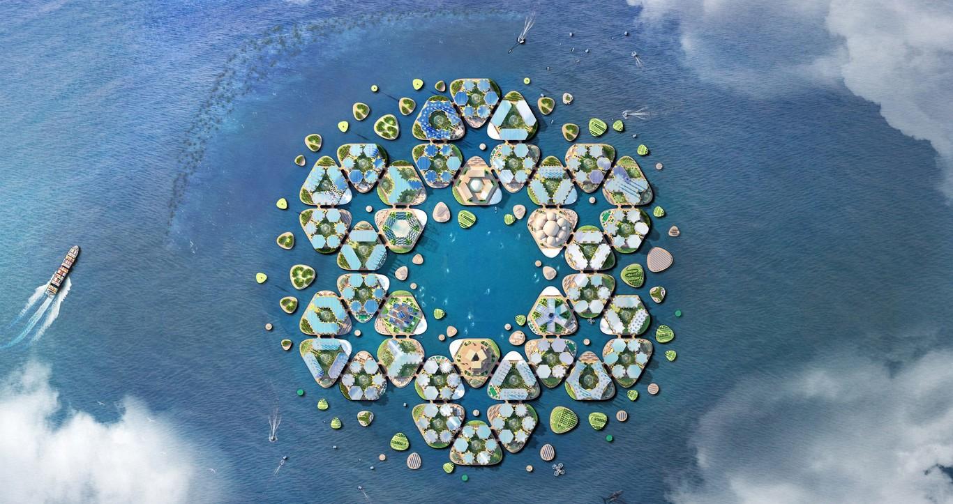 Las plataformas estarán amarradas al fondo oceánico  / Oceanix City